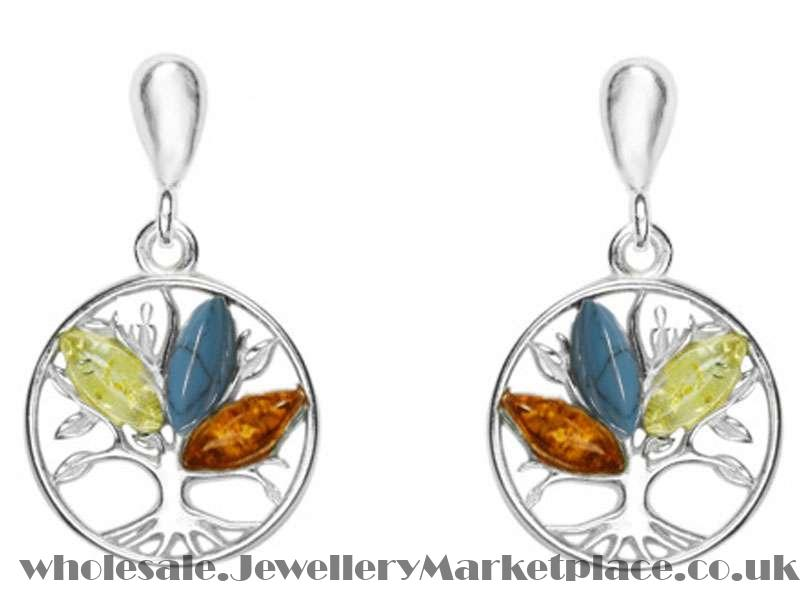3bb4e2ffa Silver Tree of Life Earrings with Amber and Turquoise | Jewellery ...